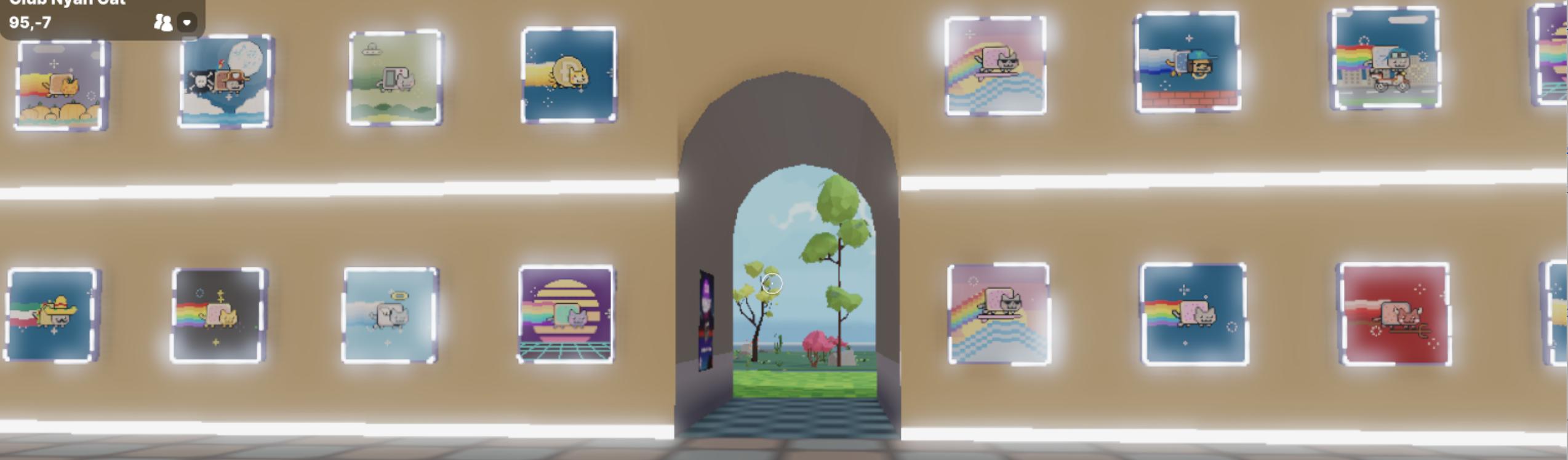 Nyan Cat NFT gallery on Decentraland, Oct 2021